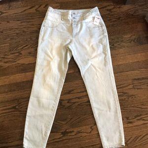 High waisted light denim skinny jeans